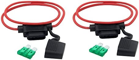 2Pcs Medium Blade Fuse Holder ATC ATO Waterproof 16AWG In-Line Wire For Car Red