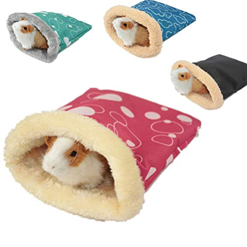 Balacoo Plush Hamster Sleeping Bag Warm Small Pet Sleep Sack Cage Nest Bed for Hamster Guinea Pig Hedgehog Rat Chinchillas (Random Color, S)