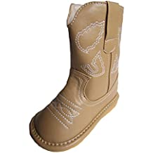 Squeaky Shoes Toddler Light Brown Leather Cowboy/Cowgirl Boots