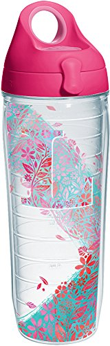 Tervis 1240123 Initial-L Botanical Insulated Tumbler with Wrap and Passion Pink Lid, 24oz Water Bottle, Clear