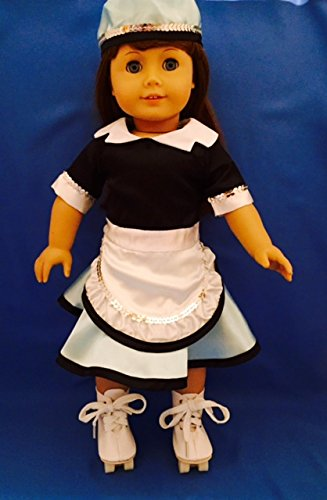 """Car Hop Outfit with Roller Skates. Fits 18"""" Dolls like American (Carhop Costumes)"""