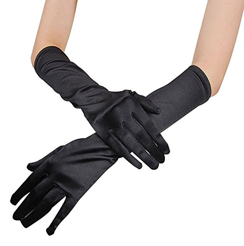Women (Black Extra Long Satin Gloves)
