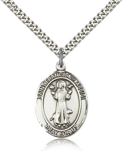 ReligiousObsession's Sterling Silver St. Francis of Assisi Pendant - 24 Chain Relious Obsession Jewels Obsession Jewels-7036SS/24S