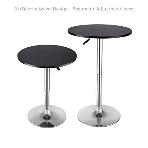 Modern Sleek Design Round Wood Bar Table Height Adjustable 360 Degree Swivel Durable Chromed Steel Base Kitchen Dining Room Home Office Furniture - Set of 2 Black #1640 (Fl Melbourne Bedroom Furniture)