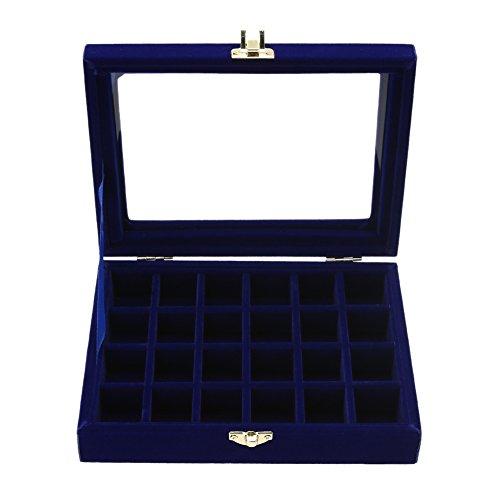Jocestyle Velvet Glass Earrings Ear Studs Display Box Jewelry Holder Storage Organizer Case (02 24 Grids Royalblue)