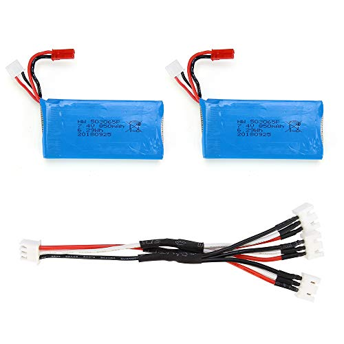 JJRC H68G Bellwether 2 Spare Parts 2PCS 7.4V 850mAh Batteries with 3 in 1 Cable Accessories for JJRC H68G (2 Batteries+3 in 1 Cable)