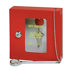 STEELMASTER Emergency Key Box, Keyed Alike, 6.75 x 6.88 x 2 Inches, Red (201900307)