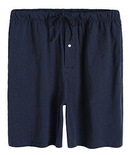 Cotton Pj Shorts (Latuza Men's Cotton Solid Pajamas Shorts M Navy)