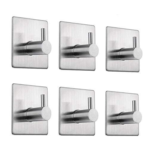 EKKONG 6 Pack Self Adhesive Hooks, Stainless Steel Stick Hooks Towel Stands Office Strong Sticky Wall Hook Rustproof Waterproof for Bathroom, Kitchen and Bedroom (6 Pack) (6pcs)