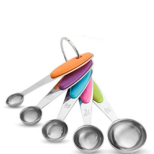 Measuring Cups, Earl Diamond Measuring Cups and Spoons Set of 10 in 18/8 Stainless Steel : 5 Measuring Cups and 5 Measuring Spoons with 2 O-Rings for Cooking Food