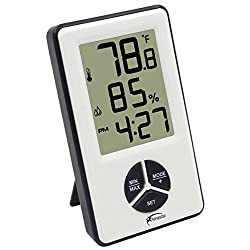 Amastar A0412 Indoor Hygrometer Thermometer Clock Portable Digital Temperature Humidity Monitor with Time Alarm