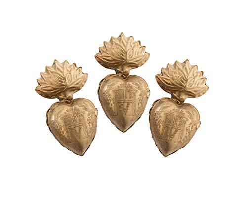 Sacred Hearts, Metal Heart Milagro, Gold Heart Box, Ex Voto, Set of 3 - Heart Ornaments Set
