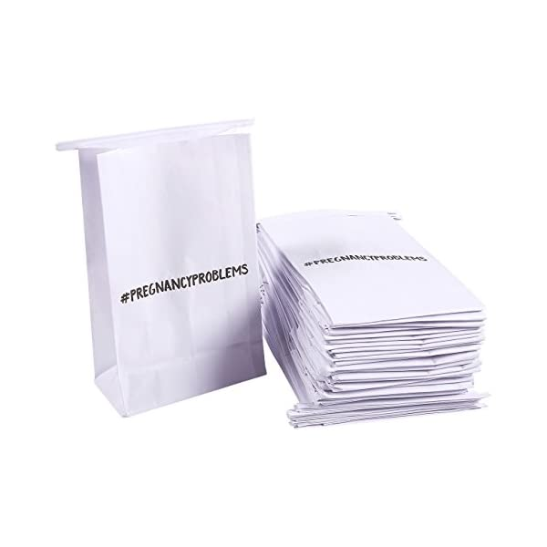 Barf Bag   50 Count Car Vomit Bags – Hashtag Pregnancy Problems White Throw Up Sick Bags For Motion Sickness, Morning Sickness, And Hangovers, Disposable Paper Puke Bag, 6 X 9.7 X 2.6 Inches