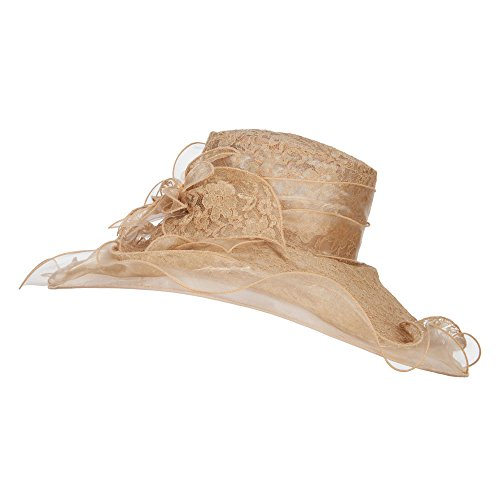 - Lace Covered Wide Organza Hat - Natural Gold OSFM