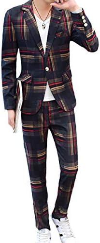 メンズ スーツセット 上下セット ジャケット スラックス カジュアルスーツ チェック柄 ストライプ柄 おしゃれ メンズファッション オールシーズン 14色展開