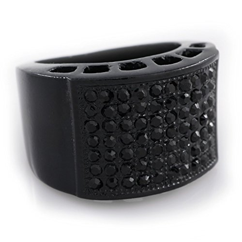 Black Band Micropave Onyx Ring