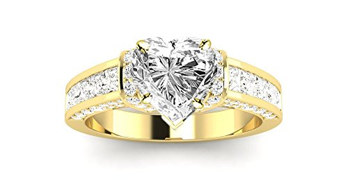 0.49 Ct Princess Shape - 1.49 Ctw 14K Yellow Gold Contemporary Channel Princess Round Heart Shape GIA Certified Diamond Engagement Ring (0.49 Ct F Color SI1 Clarity Center Stone)