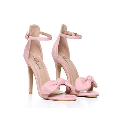 Sandal Onlineshoe Strap Pu Suede Black Ankle Stiletto Suede Detailed White Bow Pink qqxTtHZ