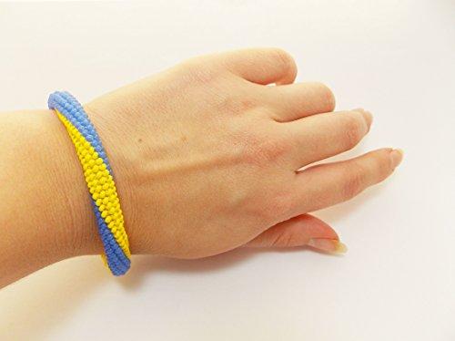 Patriotic Beaded Bracelet (Yellow blue HANDMADE bracelet Ukrainian flag striped ornament Ukraine patriotic gift unisex beaded jewelry craft ukrainian embroidery symbols)