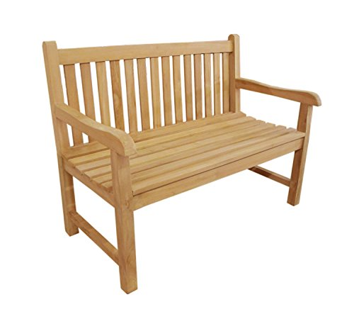 (Offex Patio Garden 2 Seater Natural Teak Accent Wood Bench)