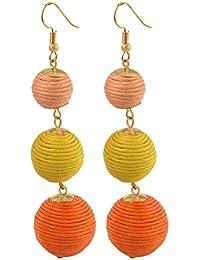 "Earrings-Dangle Thread Ball Earrings for Women and Girls Bohemia style Drop Earrings Length 3.54"""