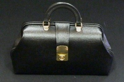 MEDICAL/SURGICAL - Black Leather Specialist Bags With Brass Fittings #1544-12 by Graham Field