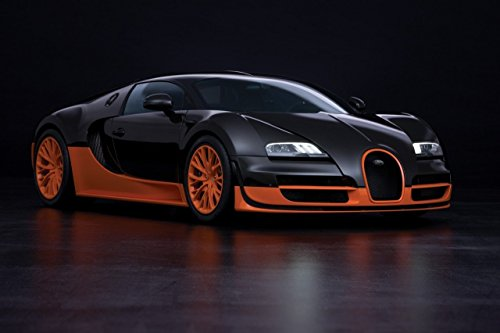 Bugatti Veyron 16.4 Super Sport 2010 Car Art Poster Print on 10 mil Archival Satin Paper Black Orange Front Passenger Side Studio View 24 x18
