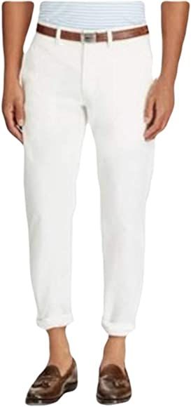 19f0fe2668d8ca Ralph Lauren Polo Men's Stretch Straight Fit Flat Front Chino Pants (White,  32x30)