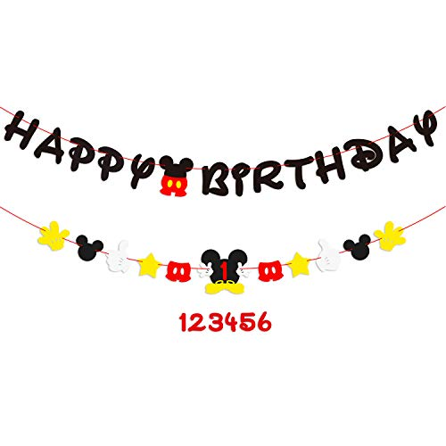 (PANTIDE Mickey Mouse Birthday Party Supplies︱Mickey Mouse Birthday Banner Garland︱Baby Shower Decorations 1st Birthday Decorations︱Mickey Mouse Party Favors︱Club House Inspiration for Kids Age)