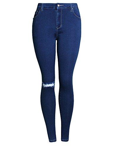 Denim Pantalons Jeans Crayon Darkbleu Dchirs Slim Femme Trousers Bx58w8