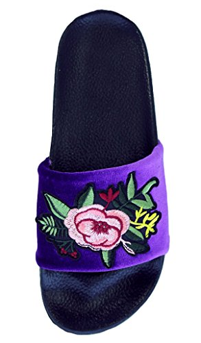 Floral Delight Bedroom - Top Purple Fashion House Slippers for Women Embroidered Floral Cute Slide Best Fun Prime Trendy Bedroom Hotel Flip Flop Flat Last Minute Christmas Rush Sale Gift Idea Ladies Teen Girl (Size 7, Purple)