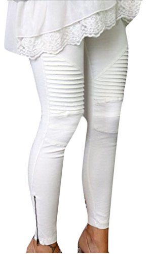 Generic Womens Solid Color Stretch Skinny Pressed Pleat Pants Trousers White M - Petite Pleats Trousers