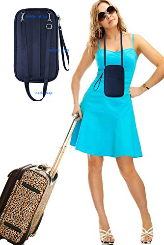 RFID Travel Passport Wallet & Documents Organizer with Neck and Hand Strap(Blue) by Athena YY (Image #1)