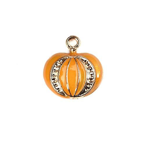 Halloween Pumpkin Pendants Color Oil Drop Enamel Charms Jewelry Making Kit for Adults 15Pcs ()