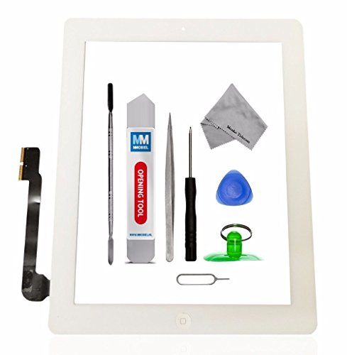 MMOBIEL Digitizer for iPad 3 (White) Touch Screen Front Display Assembly Incl Home Button flex Camera Holder Pre Installed Adhesives and Tool kit (Replacement Screen A1416)