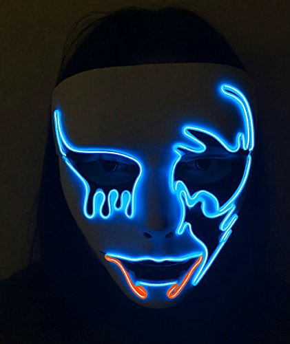 Festival Halloween Costumes (Halloween Scary Mask,heytech Cosplay Led Costume Mask EL Wire Light up for Festival Party (Death Grimace Orange))