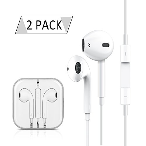 GLOUE Compatible with iPhone Earphones Earbuds Headphones with Stereo Mic&Remote Noise Isolating Headset Control Headphone Smartphones for iPad iPod Sumsung Phone – [3.5mm] [White][2 Pack]