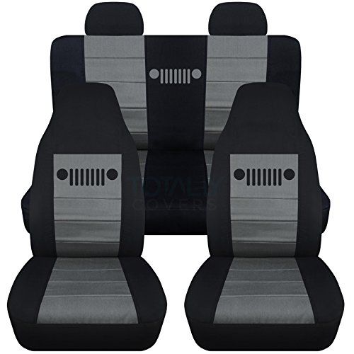 Totally Covers Fits 2002-2007 Jeep Liberty Seat Covers with Molded/Adjustable Front & Rear Headrests: Black & Charcoal - Full Set (23 Colors) Split Bench Bucket 2003 2004 2005 2006 SUV (Jeep Cover Covers Liberty Seat)