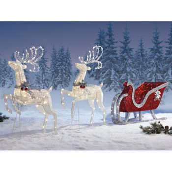 2 deer santas sleigh large set decoration holiday lawn ornaments 400 pre - Decorative Christmas Sleigh Large