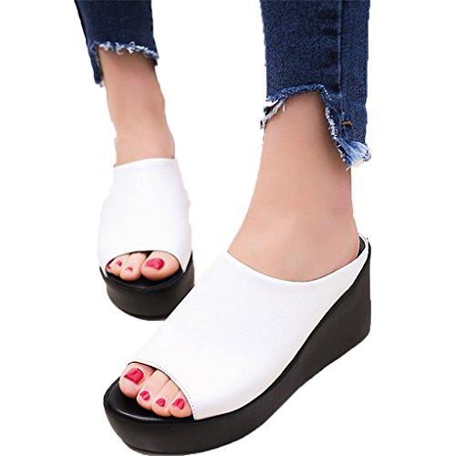 - haoricu Women Sandals, Women Summer Fashion Platform Shoes Fish Mouth Sandals Flip FlopThick Bottom Slippers (US:5.5, White)