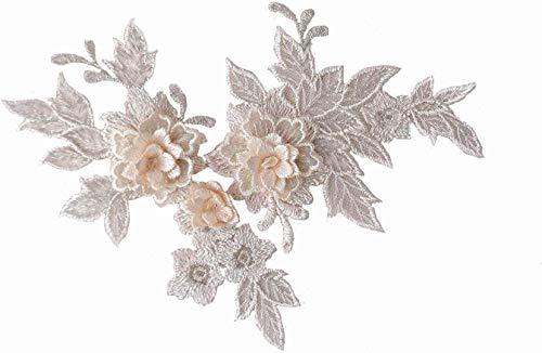 2 Pieces XLight Champagne 3D lace Applique Lighter Champagne 3D Floral lace Motif Patch Champagne Double Layer Floral lace Applique Motifs for Sewing