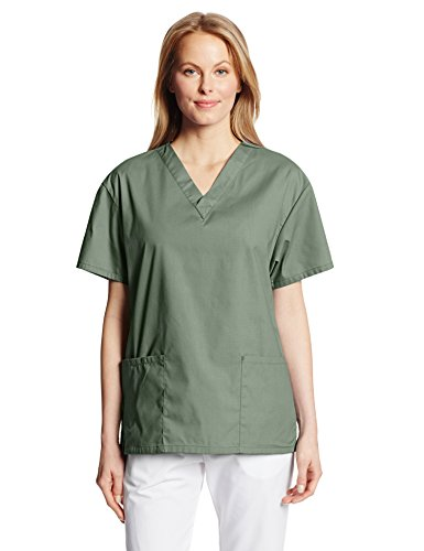 Dickies Women's Eds Signature Scrubs 86706 Missy Fit V-Neck Top, Olive, (Classic Olive Green)