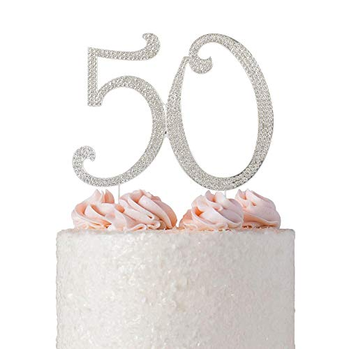 50 Cake Topper | Premium Sparkly Bling Crystal Diamond Rhinestone Gems | 50th Birthday or Anniversary Party Decoration Ideas | Perfect Keepsake (50 Silver)]()