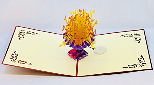Paper 3D Musical Pop Up Card with Love Song, Pop up Birthday Card for Wife Husband Kids Valentine Day Card Envelopes Handmade (Flowers) ()