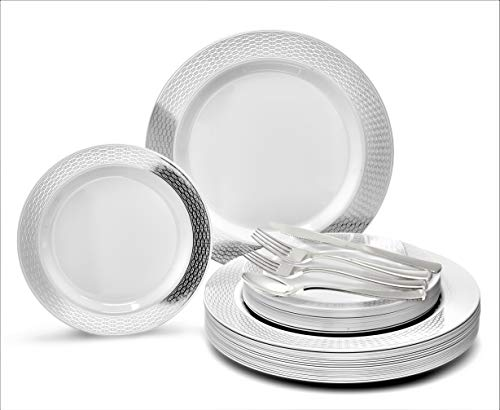 OCCASIONS 150pcs set (25 Guests)-Wedding Plastic Plates & cutlery -Disposable heavyweight Dinnerware 10.5, 7.5 + Silverware w/double fork (Diamond White & Silver)