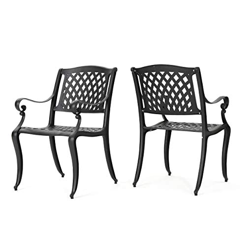 Christopher Knight Home 239070 Marietta Outdoor Cast Aluminum Dining Chairs, 2, Black (Best Aluminum Paint Furniture Outdoor For)