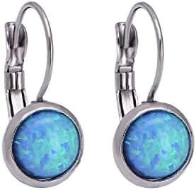 Silver Stainless Steel Earrings Round Blue Opal Earrings Gemstone Birthstone Earrings