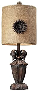 Dimond Lighting 93-10021 9 by 22-Inch Orde 1-Light Mini Traditional Table Lamp with Metal Flower Decor Shade, Casa Nova Finish