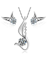 Charming 18 ct White Gold Plated White Crystals from Swarovski Angel Wings Set Necklace Earrings
