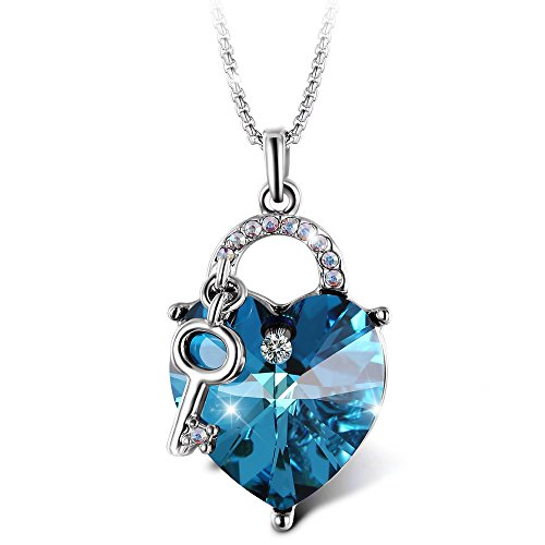 T400 [Deal of The Day] Jewelers Lock and Key Heart Shape Pendant Necklace Made with Brilliant Crystal (Blue)
